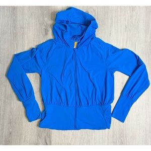 Lucy Blue Ruched Hoodie Athletic Jacket